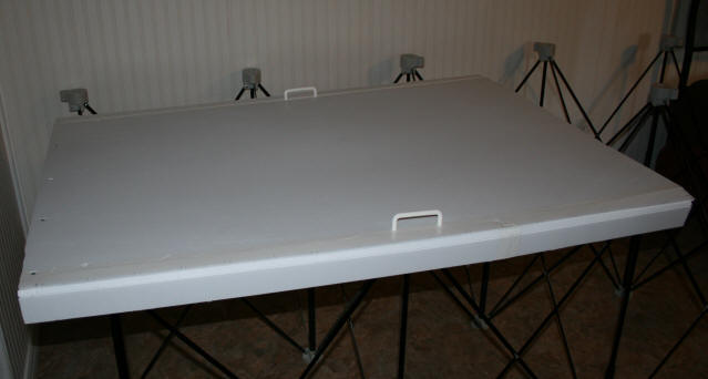 completed crawl space cover showing side flap on one side