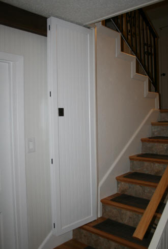 The photo on the left shows the door in the recessed part of the wall. The photo on the right shows the door at the bottom of the stairs locked straight and ... & Laurelu0027s Adventures in Home Repair - Stair Door