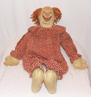 Photo of rare Bozo the Clown cloth doll